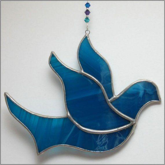 Ornement de Noël de la Colombe de la paix de vitraux - sans frais de port