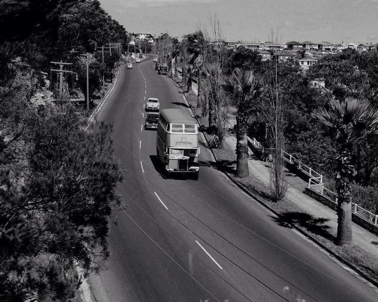 A double decker bus slowly makes its way down towards the Spit Bridge back in September 1954. [ RMS Library ]