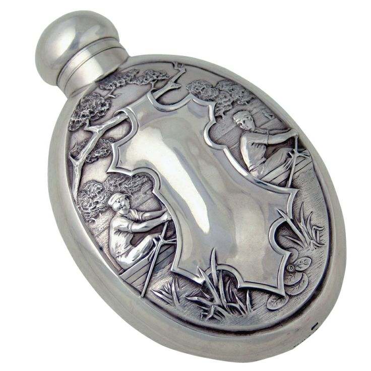 Antique silver rare Whiskey Flask rowing interest | From a unique collection of vintage dinnerware and flatware sets at http://www.1stdibs.com/jewelry/silver-flatware-silverplate/dinnerware-flatware/