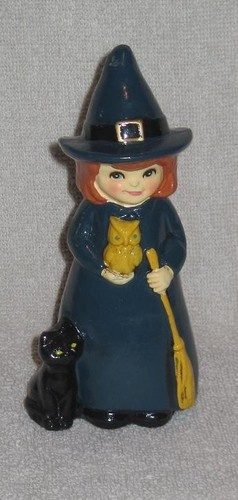 Vintage witch figurine with cat