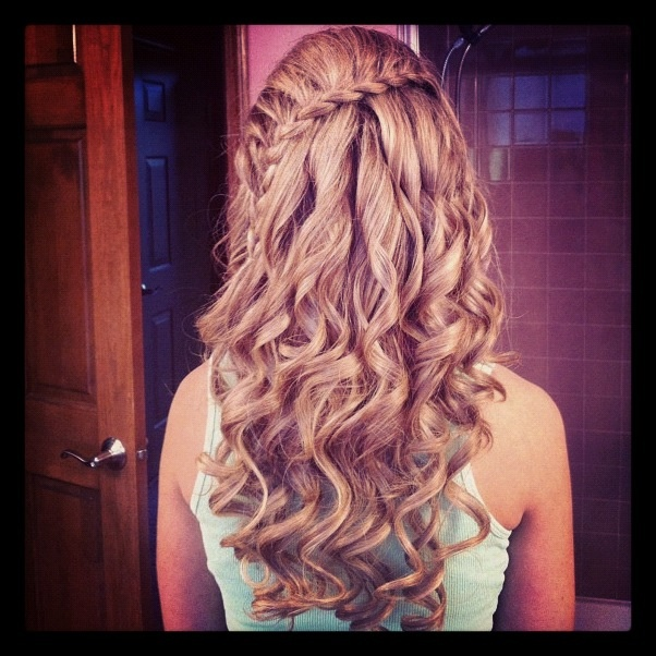 prom hair braid with curls cute
