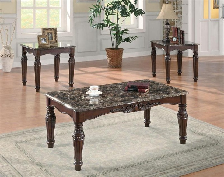 rich cherry fauxmarble coffee table set