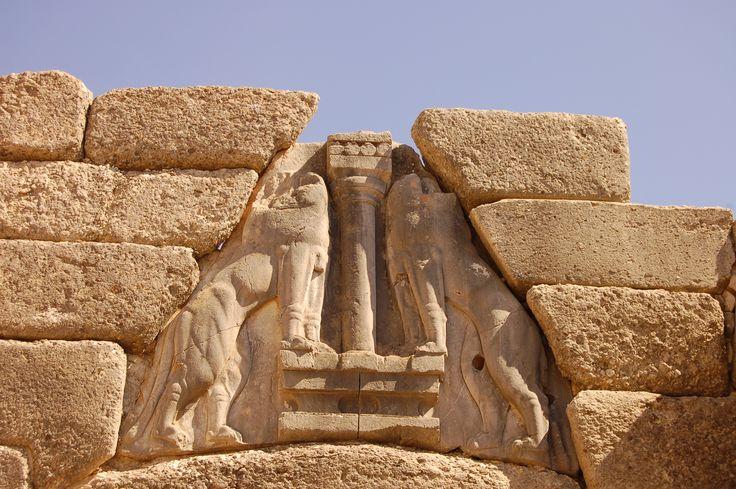Lions Gate in Mycenae , Argolis, Greece.