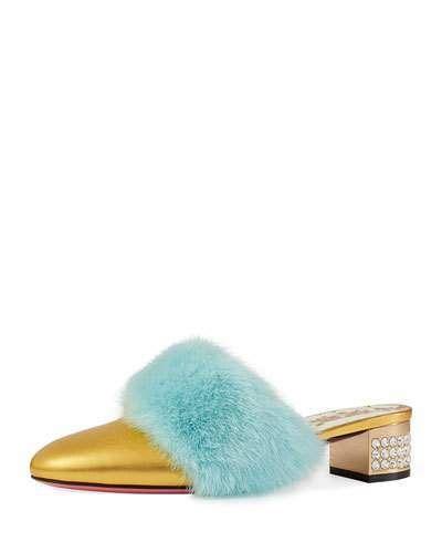40219fbbb Gucci Candy Metallic Leather Fur-Trim Mule Gucci metallic leather mule with  dyed mink (Finland) fur trim. 1.4