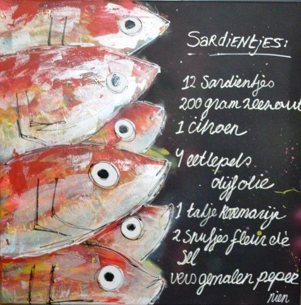 Sardientjes schilderij van de leukste schidlerworkshop
