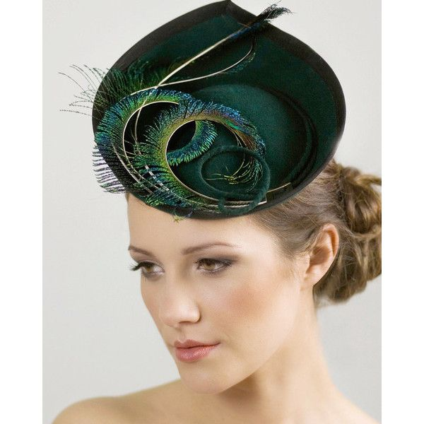 Hat for the Races, Ladies Day, Saucer Hat for Women, Wedding Feathered... (€295) ❤ liked on Polyvore featuring accessories, hats, feather hat and saucer hat
