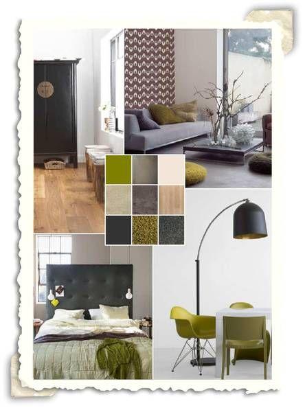 Interieur idee met de kleuren grijs en oud groen for Interieur kleuren