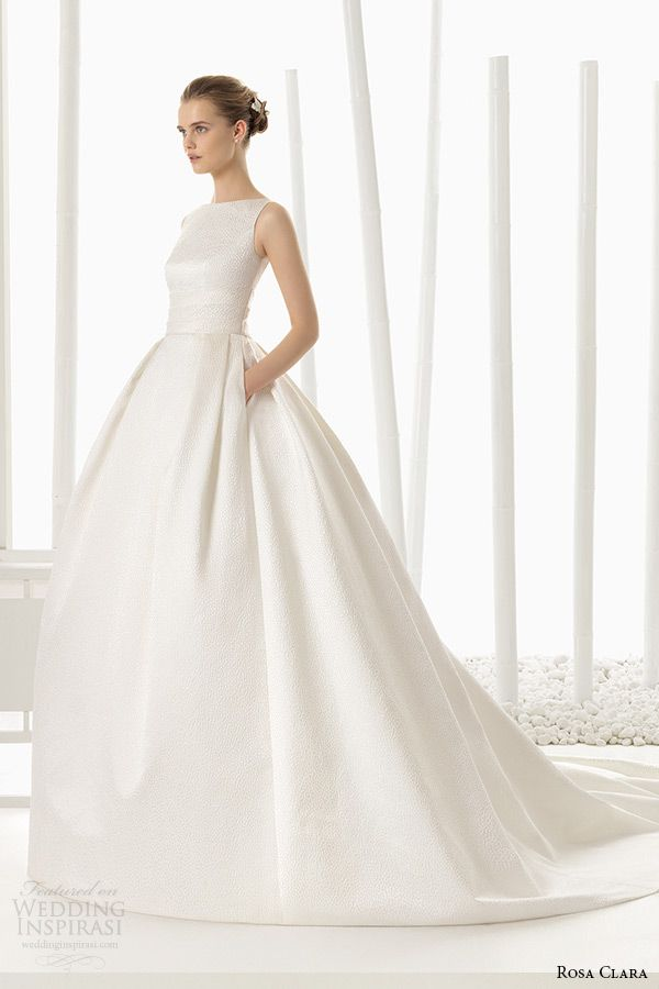 rosa clara 2016 bridal collection bateau neckline sleeveless white wedding ball gown dress with pockets destino