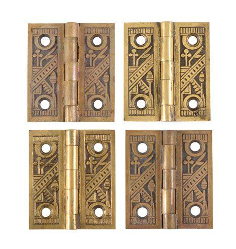 Set of 4 Ornate Brass Shutter Hinges c1883