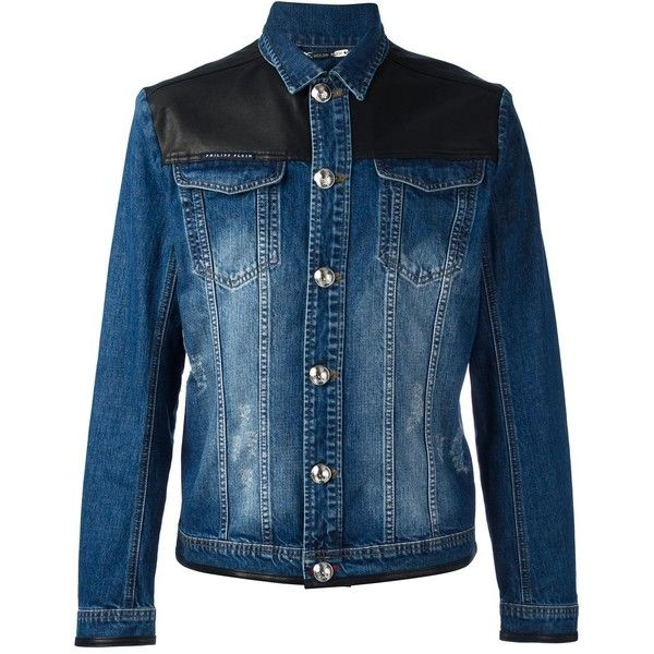 Philipp Plein Beowulf denim jacket ($1,002) ❤ liked on Polyvore featuring men's fashion, men's clothing, men's outerwear, men's jackets, blue, mens blue jean jackets, mens leather jackets, mens leather jean jacket, mens blue leather jacket and mens blue jacket