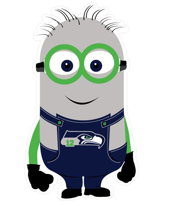 """Seattle Seahawks Minion 12th Man Decal! Revised color update. We added """"12"""" in Bright Green and added a white outline so that the decal will appear on any background surface color including black. Show off your 12th Man Pride! 