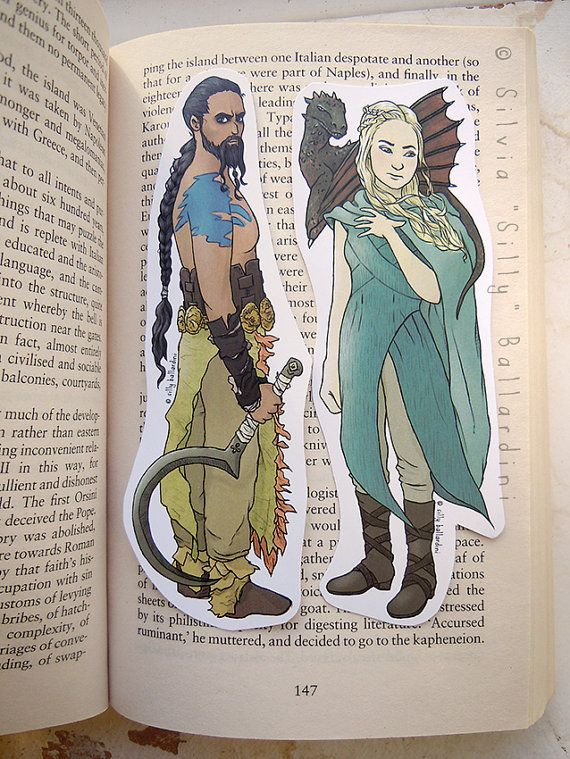 Game of Thrones bookmarks: Daenerys Targaryen Khaleesi & Khal Drogo [ a Song of Ice and Fire ]
