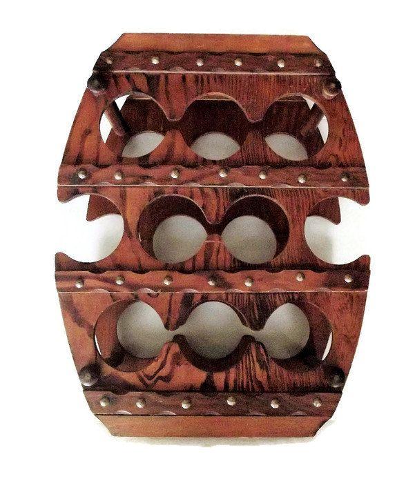 Vintage Wooden Wine Rack/ Vintage Barrel Shaped Wine Rack/ Southwestern Themed Wine Rack/ Rustic Primitive Decor/ Ranch Decor/ Cowboy Decor by KMVintageTreasures on Etsy