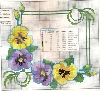 Cross-stitch Pretty Pansies Table cloth or a frame...    ENCANTOS EM PONTO CRUZ: Flores