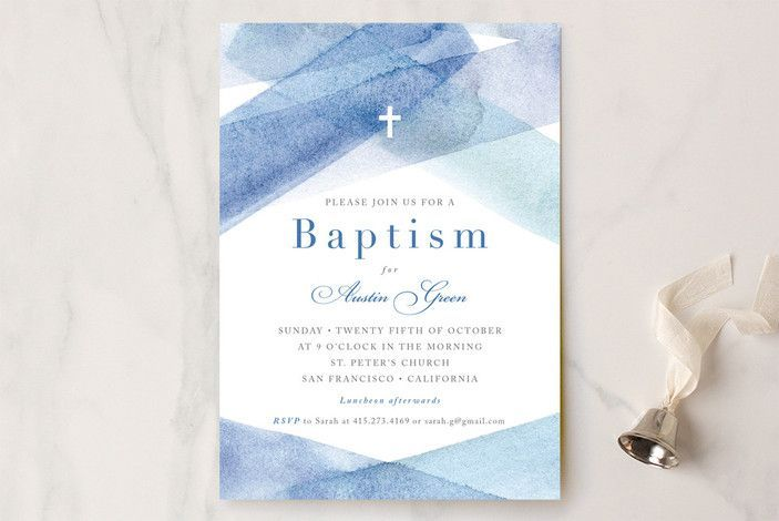 watercolor stripes Baptism and Christening Invitations by Four Wet Feet Design at minted.com