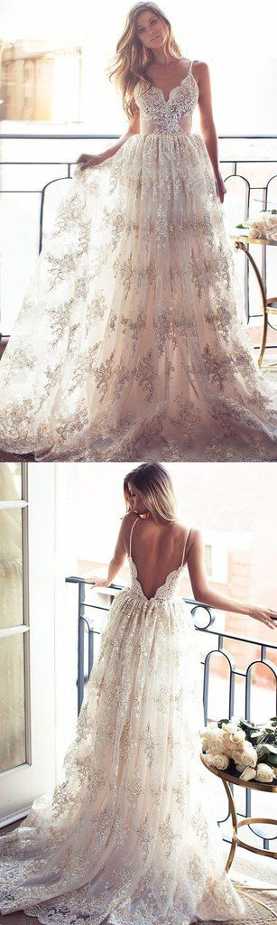 Full Lace A Line Wedding Dresses Sexy Spaghetti Neck Backless Wedding Gowns Sweep Train Spring Beach Vintage Lurelly Illusion Bridal