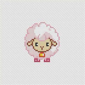 Cross stitch pattern PDF Cute sheep pink by UAHomeMadeStudio