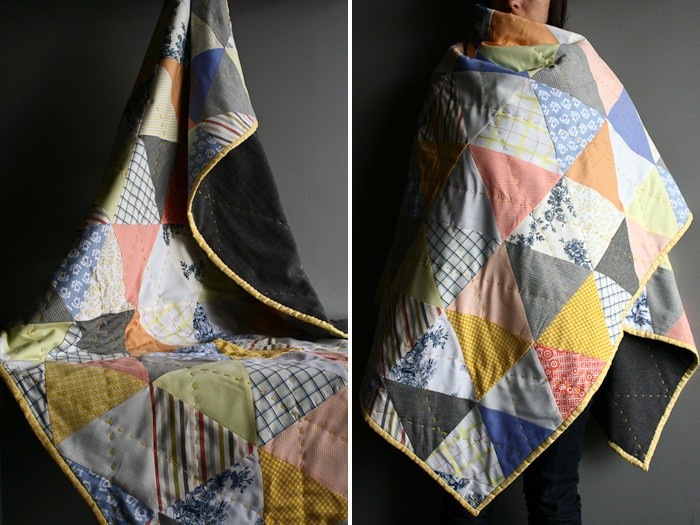 triangle quilt: Hate Triangles, Patchwork Quilts, Triangle Quilts, Faded Triangles, Triangles Quilt, Cozy Triangles, Patterns Quilts, Color Combination