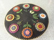 HAND MADE PENNY RUG Candle Mat Primitive Flower Garden 12 inch