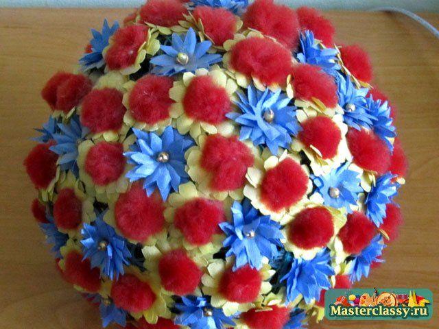Праздничные поделки для мамы. Цветочный шар. Мастер класс