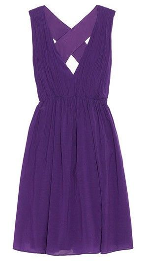 Bright purple bridesmaid dress with criss crossed back from Alice Olivia @myweddingdotcom