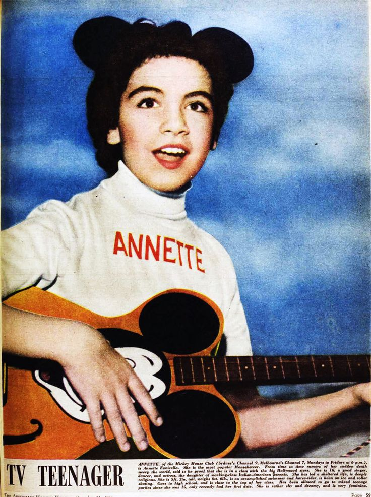 Annette Funicello on The Mickey Mouse Club television show (1957) • photo: Pictorial Parade on http://www.gettyimages.ca/detail/news-photo/promotional-portrait-of-annette-funicello-and-jimmie-dodd-news-photo/2129028