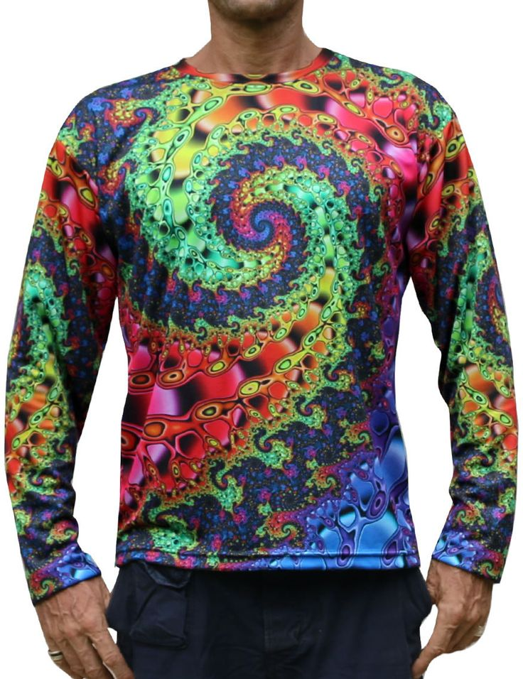 "Sublime L/S T : Whirlpool Fractal  Fully printed long sleeve T shirt.  This shirt is an ""All Over"" printed T shirt that will really grab people's attention.  Printed using sublimation printing on a high quality polyester / Dri-Fit blended shirt.  This allows for extremely vibrant colors that will never fade away no matter how many times it gets washed, & results in an extremely soft ""feel"" to the shirt, providing ultimate comfort."