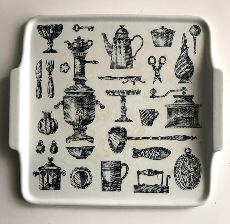 arabia finland rare serving platter tray kitchenalia black & white sketches | Pottery, Glass, Pottery, Porcelain, Arabia | eBay!