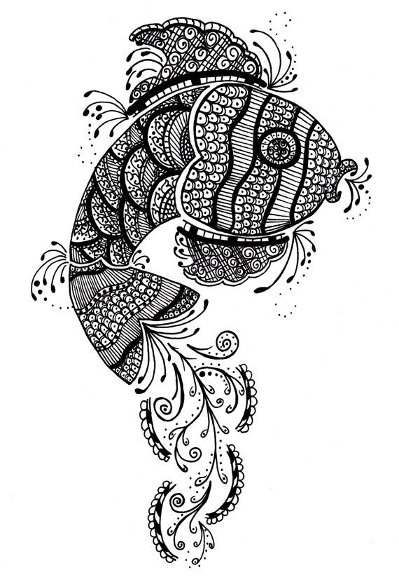 Henna fish - black and white photo - mehndi gold fish