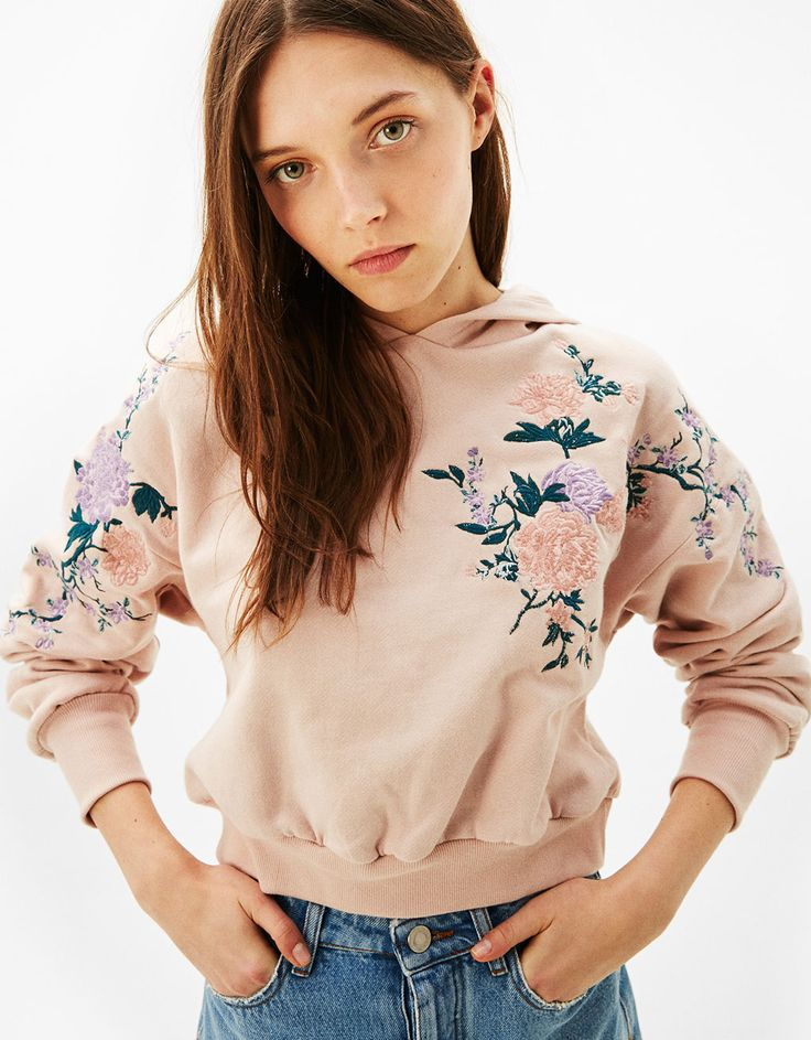 Floral embroidery hoodie. Discover this and many more items in Bershka with new products every week