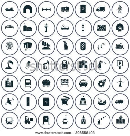 Set of forty nine industry and infrastructure icons