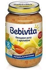 Bebivita Пюре овощное рагу с кроликом, с 8 мес  — 85р. --------- Пюре Bebivita Овощное рагу с кроликом - пюреобразный продукт для питания детей с 8 месяцев. Имеет неоднородную консистенцию, наличие небольших кусочков поможет Вашему ребенку научиться жевать.  Крольчатина - это уникальный гипоаллергенный диетический продукт, который усваивается на 96%. Она незаменима для детей с анемией или пищевой аллергией. Мясо кролика не может содержать холестерина, пестицидов, гербицидов, следов…