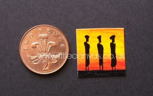 African sunset with people silhouette - Little Canvas