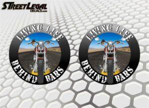 "2 Living Life Behind Bars Motorcycle Bike 5"" Round Vinyl Stickers"