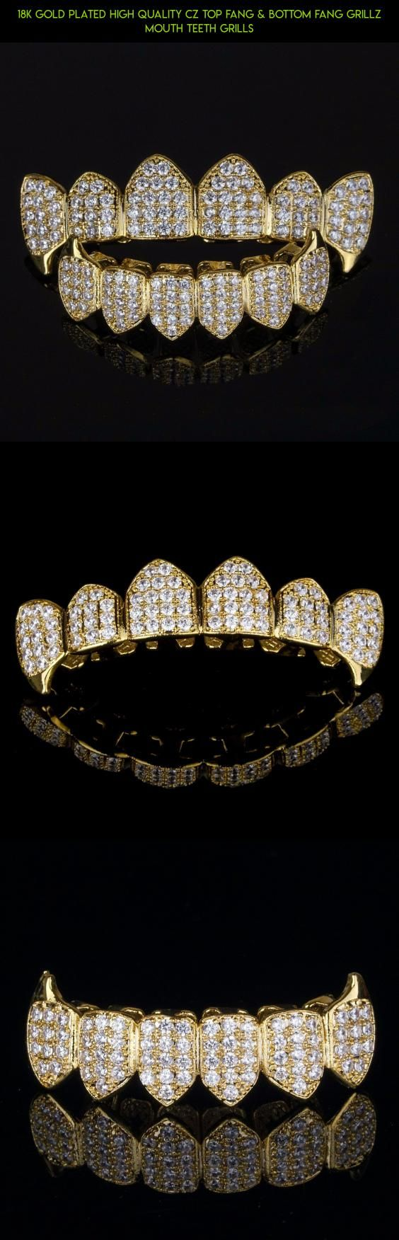 18K Gold Plated High Quality CZ Top Fang & Bottom Fang GRILLZ Mouth Teeth Grills #products #technology #plans #bottom #fpv #racing #gadgets #kit #fangs #tech #teeth #parts #camera #shopping #drone #grills