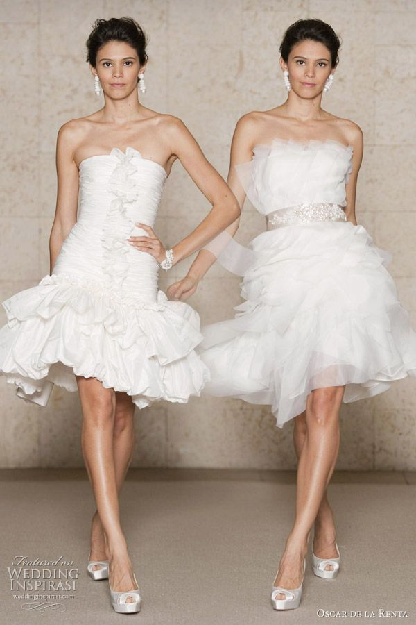 Oscar de la Renta short wedding dresses 2011 Fall/Winter Bridal collection - ruched silk taffeta dropped waist cocktail with 2 tiered balloon skirt, silk organza embroidered cocktail dress with spiral organza bands