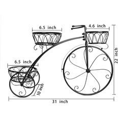 3 Plant Pots Holder Classic Bicycle Home Garden Decor Wrought Iron Plant Stand…