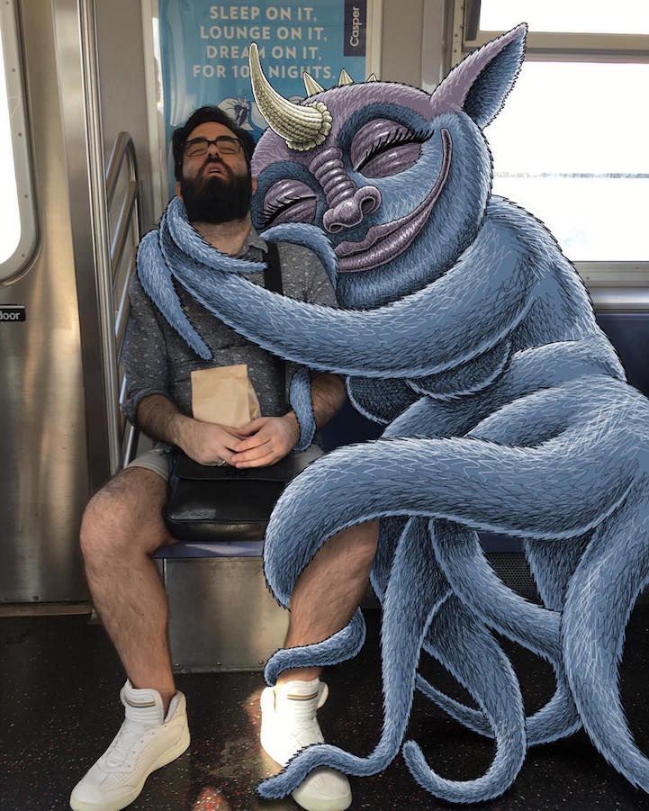"""Riding on the subway every day might seem like it'd get old, but artist Ben Rubin keeps a fresh perspective with his imaginative series Subway Doodle. The ongoing project features snapshots of New York City train cars and passengers with a fantastical twist—Rubin adds his own characters into the scenes as they """"interact"""" with real-world surroundings in both amusing and mischievous ways. The larger-than-life creatures hang on sleepy riders, sneak sips of coffee, and of course, are similarly…"""