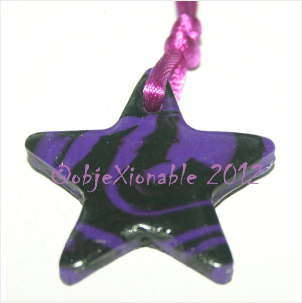 Black and Purple Tie Dye Star Pendant