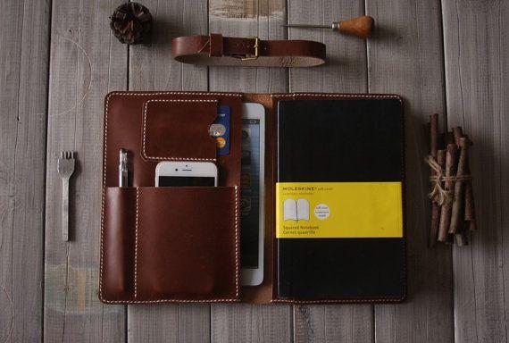 Leather iPad Mini Case Hand Stitched Portfolio, Large Moleskine notebooks Cover Sleeve - Multifunction pen sleeve, iphone 6 Case