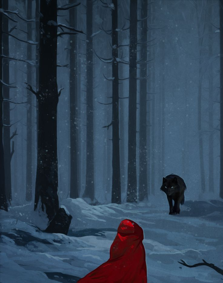 Riding hood by andrework little red riding hood wolf forest snow ...would also make a great book cover monster beast creature animal | Create your own roleplaying game material w/ RPG Bard: www.rpgbard.com | Writing inspiration for Dungeons and Dragons DND D&D Pathfinder PFRPG Warhammer 40k Star Wars Shadowrun Call of Cthulhu Lord of the Rings LoTR + d20 fantasy science fiction scifi horror design | Not Trusty Sword art: click artwork for source