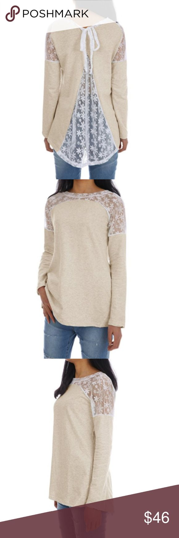 Cream and White Lace Backless Long Sleeve Top Cream long sleeve top with lace backless detailing. Tie neck.  Material: cotton / polyester Small:              Waist: 26-27        Bust: 34-35  Medium:         Waist: 28-29        Bust: 36-37  Large:             Waist:30.5-32      Bust: 38.5-40  XL:                  Waist: 33.5-35     Bust: 41.5-43  XXL:                Waist: 37              Bust: 45 Tops Tees - Long Sleeve