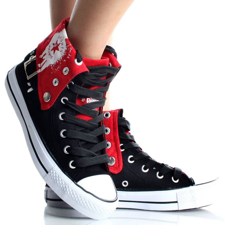 Womens High Top Sneakers Canvas Skate Shoes Black Lace Up Ankle Boots