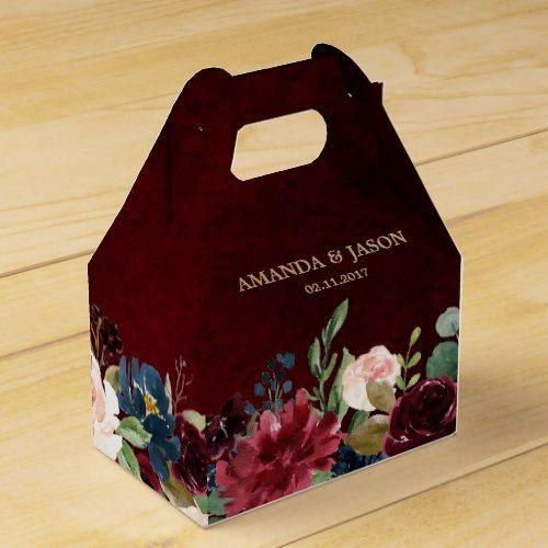 Burgundy Red Navy Floral Rustic Boho Wedding Favor Box | Zazzle.com