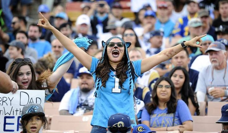 Panthers vs. Rams:  13-10, Panthers  -     Carolina Panthers fans cheer the team as they play the Los Angeles Rams at Los Angeles Memorial Coliseum in Los Angeles, CA on Sunday, November 6, 2016. The Panthers won, 13-10.