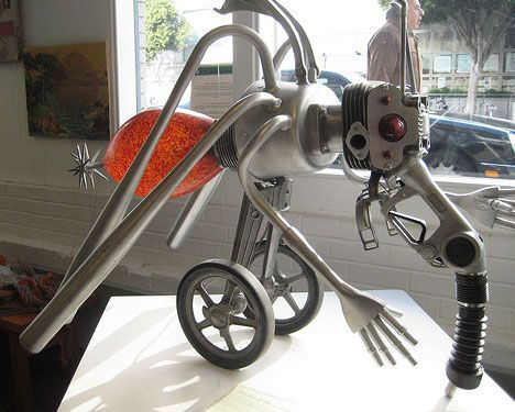 The garbage and recycling center in San Francisco offers fellowships to artists who use recycled materials. This odd looking robotic mosquito, looking for its first blood, was a recycled artwork project.  Repurposing the materials into exciting artwork keeps these objects out of landfills and eliminates the costs of traditional recycling.
