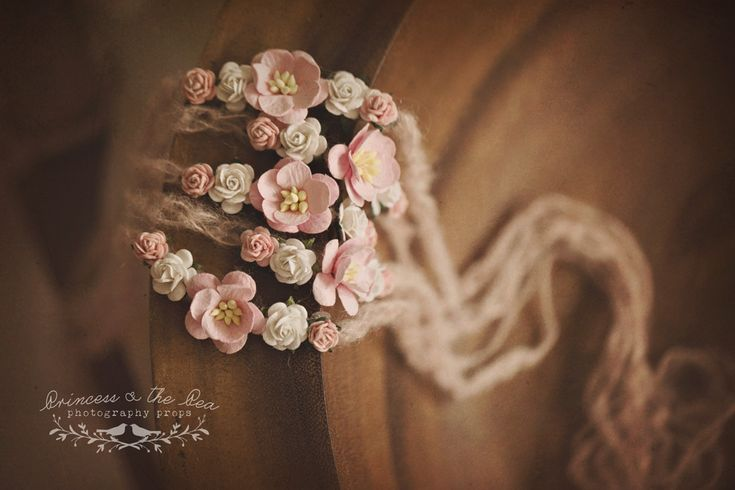 Dusty pink crocheted mohair, pink mulberry flowers, newborn tieback, photography prop, newborn headband by Princess & the Pea Photography Props
