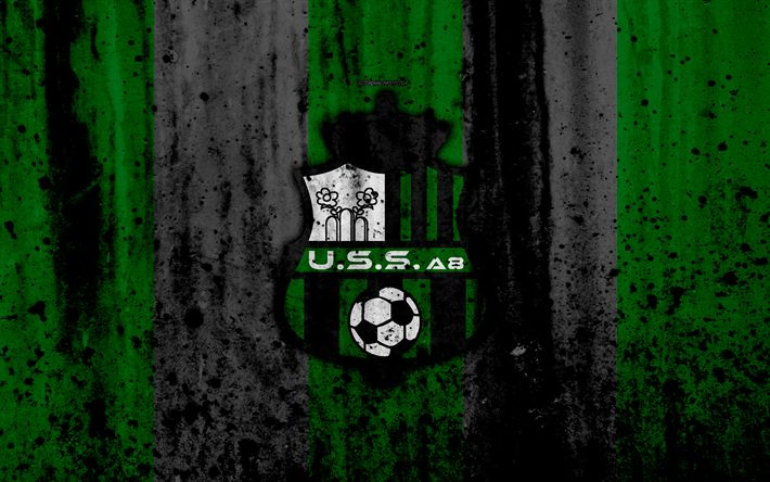 Download wallpapers FC Sassuolo, 4k, logo, Serie A, stone texture, Sassuolo, grunge, soccer, football club, Sassuolo FC