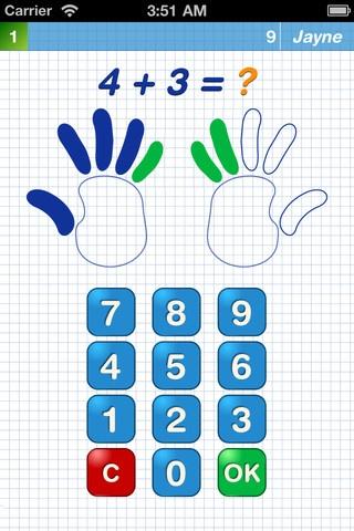 math kid. Her kan man i setup, sætte opgaverne til kun at være addition, men subtraktion, gange og dividere kan tilføjes. Gratis app