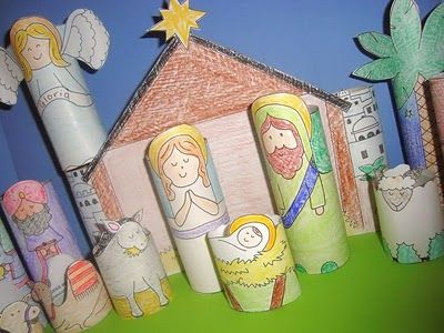 nativity-scenes- print, color and glue to toilet paper rolls.: